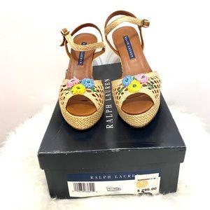 Ralph Lauren Karcy Raffia Straw Sandals